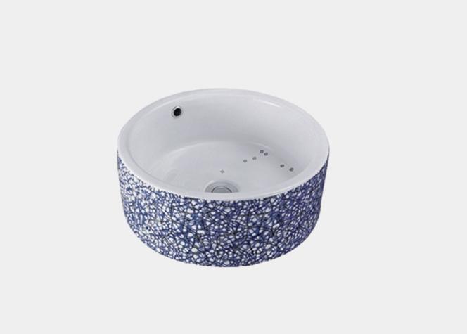 蓝水磨石纹 2020 重庆台盆生产厂家